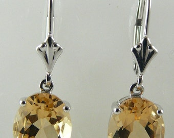 Citrine 4.88ct Earring 14k White Gold Lever Backs