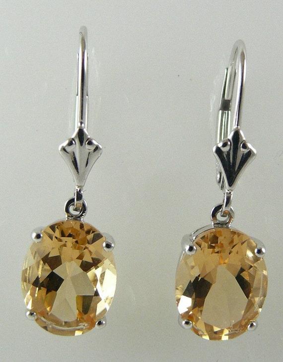 Citrine 4.88ct Earring 14k White Gold Lever Backs