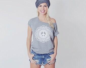 HIPPIE mandala yoga peace Shirt cotton shoulder free yoga namaste meditation statementshirt printed shirt