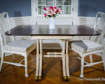 Vintage Brandt Drop Leaf Dining Table, Two Side Chairs , and Three Additional Leaves