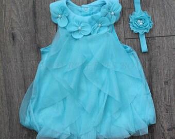 Blue Baby Romper, Baby Girl Romper, Onsie Lace Romper, Newborn Romper, Toddler Romper, Baby Photo Prop, Lace Romper, Romper Headband Set