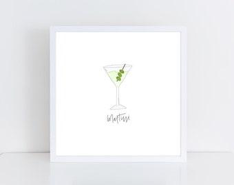 Martini Watercolor Print | Bar Cart Art | Martini Print | Dirty Martini Art