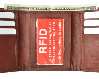 New Mens Trifold Leather Wallet RFID Blocking Black, Brown, Tan, Burgundy RFID 55