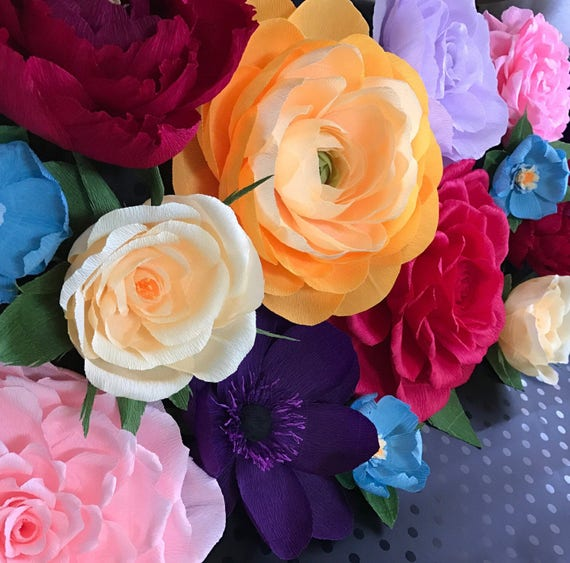 Colorful Flower Wall | Crepe Paper Flowers | Set of 14 | Baby Nursery | Photography Props | Event Flowers