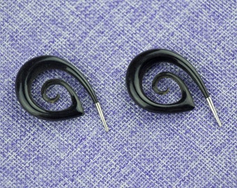 """Ear Weights, Earrings For Stretched Lobes,""""The girl with the Dragon tattoo"""" 0 Gauge (8mm) Gauges,Horn,Naturally Organic, Hand Carved, Tribal"""