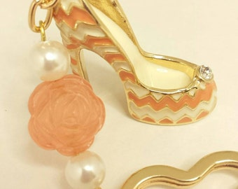 High heel key chain, Beaded key chain, High heal pumps key chain