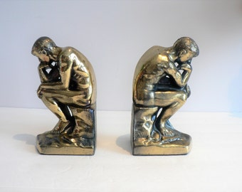 Vintage 20's The Thinker Cast Metal Bookend Pair - Art Deco Style Bookends