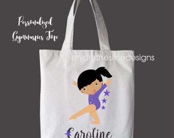 African American Hispanic Personalized Girls Tote Bag Overnight Bag Gymnastics Bag