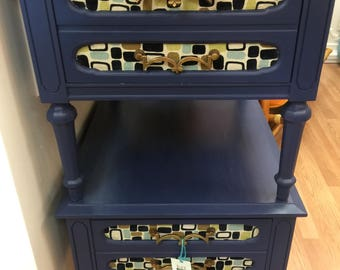 Vintage, End Tables hand painted with retro fabric inserts