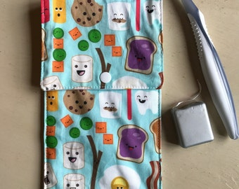 Kawaii Cotton Fabric Toothbrush/ Toothpaste Travel Pouch Floss Pocket / Toiletries Travel Bag Dentist Hygienist Tooth Gift