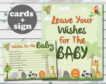 safari baby well wishes printable cards jungle safari baby shower wishes for the baby