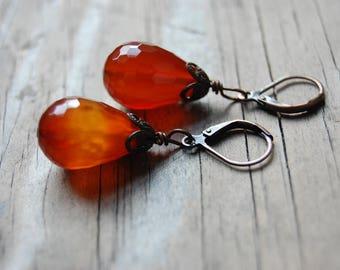 Woodland Collection - Antiqued Copper Genuine Carnelian Teardrop Dangle Earrings