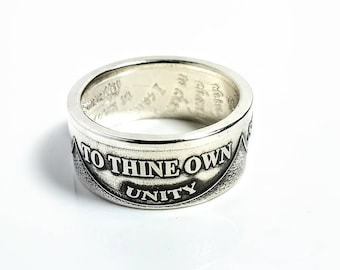 Silver AA Ring, Sobriety, Recovery, Alcoholics Anonymous, Coin, Serenity Prayer, AA Coin, Coin Rings, Recovery Jewelry, Recovery Gift