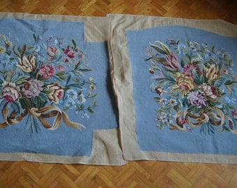 Pair french Gobelin Tapestry Hand Stitched Petite Point