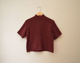 Vintage The Festival Maroon Red Soft Short Sleeve Turtle Neck Sweater Top Anne Taylor Loft Women's Size Small/Medium