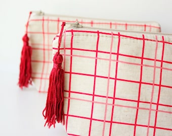 Zipper Pouch With Tassle, Pencil Pouch, Purse, Makeup Bag, Cosmetic Bag, Gifts for her, Zaka, Red