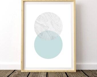 minimal poster, scandinavian art, circles print, modern minimal, wall art, wall printables, geometric print, mint green, nordic poster