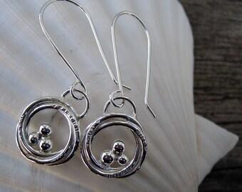 Fine silver bird nest earrings // ready to ship