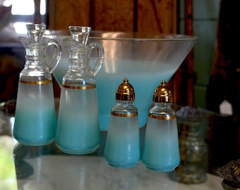 Mid-Century Turquoise Frosted Glass Salad Set with Gold Accents