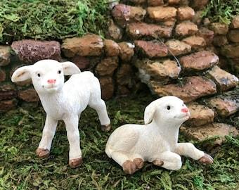 Miniature Baby Sheep / Lambs - Set of 2