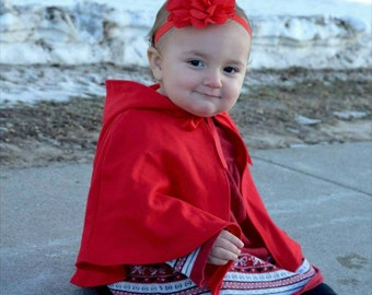 Baby girl's red hooded capelet - short cape - little red riding hood cape size 0-3 months