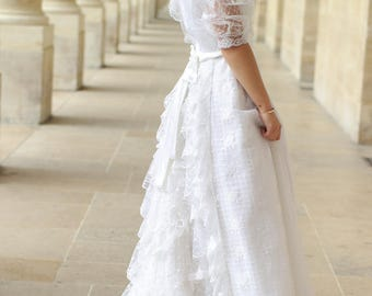 80's vintage lace wedding dress - PRENUPTIAL FRENCH MARK