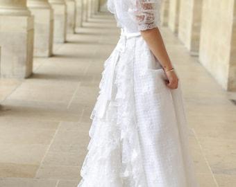 Robe de marié en dentelle vintage années 80 - MARQUE FRANÇAISE PRENUPTIAL