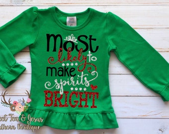 Girls Christmas Shirt - Baby Girl Christmas Shirt - Toddler Girl Christmas Shirt - Girls Christmas Sparkle Outfit - Girls Spirits Bright Top