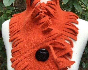 Wool Scarf Neck Warmer with fringe and Vintage button closure- Upcycled Repurposed Felted Sweater wool Scarf in Orange