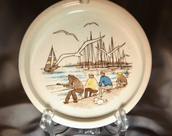 Ashtray 1970s Otigari Men Fishing Boats Seagulls