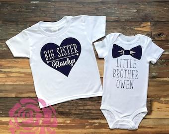 Big Sister Little Brother Shirt Set, Big Sister Little Brother Set, Big Sister Shirt, Little Brother Shirt, Sibling Shirts, Sibling Tee