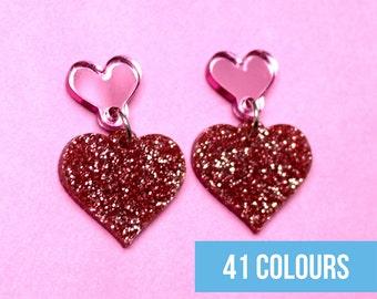 Heart dangle earrings – Valentines earrings | Custom glitter heart earrings | Anniversary Gifts | Love heart earrings | Christmas Gift