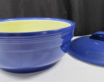 Manning Bowman Periwinkle Blue Casserole Dish w/ Vented Hood Yellow Interior