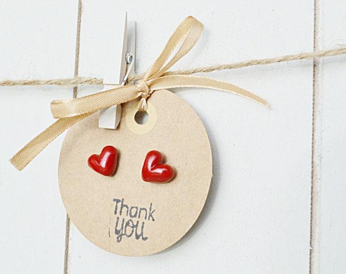 Handmade heart earrings - red heart earrings - gift for daughter - gift for girlfriend - hypoallergenic earrings - cute earrings - thank you