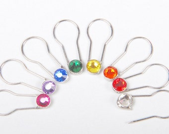 Crystaletts Pin, Silver Knit Markers, 16 Stitch Markers Locking Crystal Markers, Crystal Safety Pins,  Crystal Markers, Crochet Markers Set