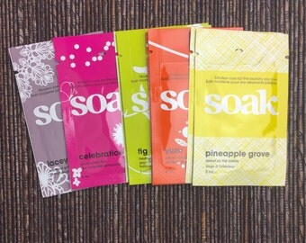 Travel Size Soak Set--8 Mini Soaks Assorted Scents Blocking Wash Cleanser Soak Mini Finishing Cleanser Yarn Cleanser Lingerie Wash Singles