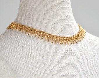 Gold bath necklace, golden bath choker, bib necklace, Huichol style, golden bath, Valentine Gift
