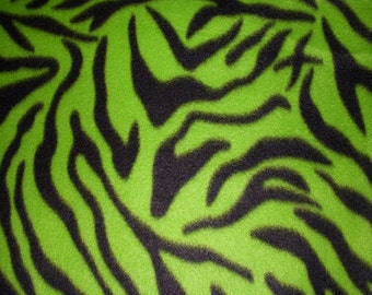 Green Zebra Print Fleece Fabric - Sold BTY