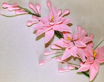 Tuberose Sugar Flower Spray, Cake Topper Pink