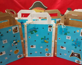 Pirate party bags. Pack of 7. Paper. Birthday. Add your own favors and gifts. Girl's or boy's party. Blue and white. Fun. Unique. Add cake.