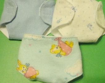 12 in Corolle Doll Diapers - Teddy Bears and Bunnies, Solid Blue, Tiny Blue Flowers