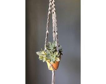 Gray macramé plant hanger