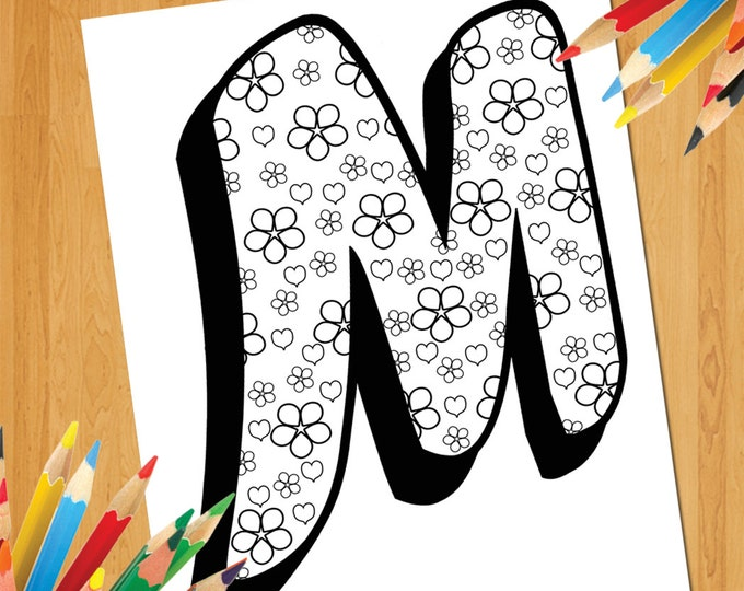 Letter M Coloring Page, Printable M Coloring Poster For Adult And Kid