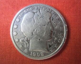 1908 O Barber Half Dollar,0.9000 Silver