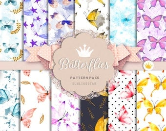Watercolor Butterfly Pattern Pack: butterfly paper, glitter digital paper, seamless watercolor pattern, repeatable, nature, butterflies