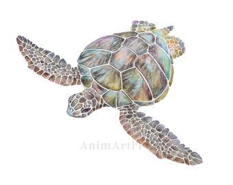 Sea Turtle Nursery Wall Art Marine Turtle Art Print Turtle Painting Sea Ocean Nursery Beach Nautical Decor Sea Animals Watercolor Ocean Art