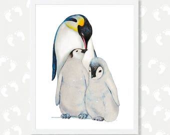 Penguin Nursery Decor Mother & Child Baby Penguin Print Penguin Gift Penguin Watercolor Painting Instant Digital Download Printable Poster