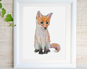 Fox Print Fox Art Fox Watercolor Painting Baby Animal Print Woodland Nursery Decor Fox Cub Baby Fox Animal Art Forest Animal Wildlife Gift
