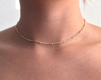 Fine chain choker with beads, simple choker, chain choker, dainty choker