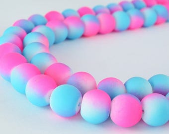 Glass Beads Matte Two Tone Rubber Over Glass Size 10mm Round For Jewelry Making Item#789222046088